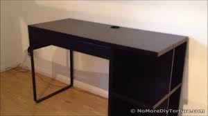 ikea black brown desk ikea micke desk with integrated storage youtube