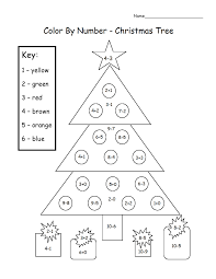 christmas tree color number u0026 subtract printable