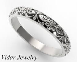 rings engraved images Flower engraved wedding band vidar jewelry unique custom jpg