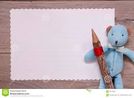 teddy bear writing paper stock photography flat lay template wooden plank table white let bear