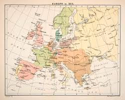 France Spain Map by 1897 Print Map Europe 1815 Great Britain France Spain Prussia