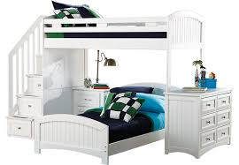 Bunk Bed With Dresser Cottage Colors White Twin Twin Step Loft With Dresser Bunk Loft