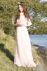 wedding dresses non white bridal gown blush pink lace bohemian