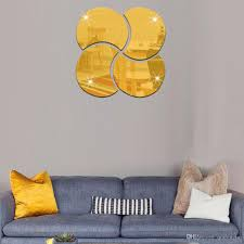 round geometric mirror floral wall stickers removable art decal see larger image