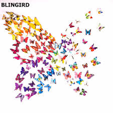 decorative wall sticker promotion shop for promotional hot butterfly wall stickers pcs color decals home decor for fridge kitchen room living