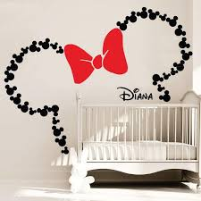 Kids Room Wall Decor Stickers by Mickey Mouse Inspired Ears With Bow U0026 Personalized Baby Name