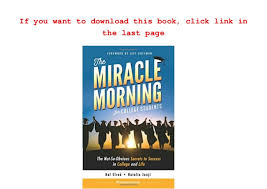 The Miracle Book Pdf The Miracle Morning For College Students The Not So Obvious