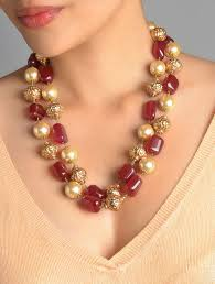 orange stone necklace images Buy red stone pearl long necklace online at jpg
