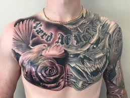dove rose tattoo on man chest by tattoo mini