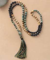 natural bead necklace images 108 beads mala natural stone lava beads long tassel necklace women jpg