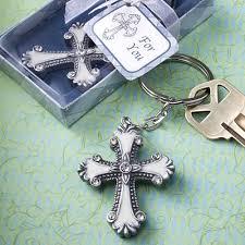 baptism keychain favors souvenir for christening cross design key chain free custom tags