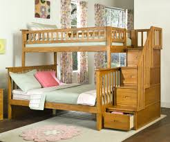 Columbia Twin Over Full Staircase Bunk Bed Caramel Latte Bedroom - Full and twin bunk bed