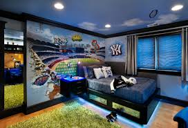 bedroom contemporary kids with teen boy bedroom decorating ideas teen boy bedroom decorating ideas and window treatment and recessed lighting also toe kick lighting and sports theme plus 3 form chroma and wall mural