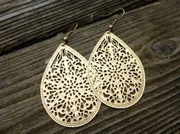 metal earings gold filigree earrings dangle earrings gold jewelry gold hoop