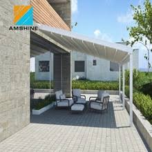 roof sliding pergola remote control retractable rail awning roof