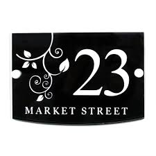uk sign shop house sign address plaque plate modern with door
