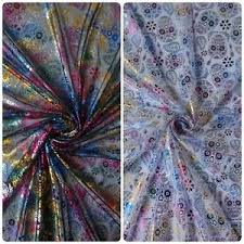 fabric tulle tulle net fabric with multi coloured foil sugar skulls 2