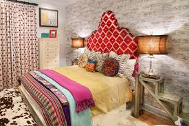 eclectic style bedroom bedroom patterned headboard and contemporary table l also wall
