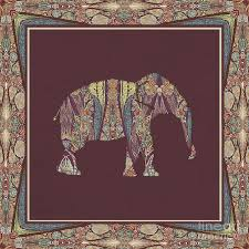 kashmir patterned elephant 2 boho tribal home decor painting by