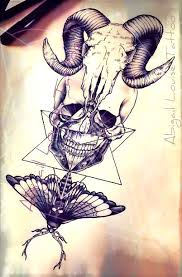 skull human skull and death moth tattoo design