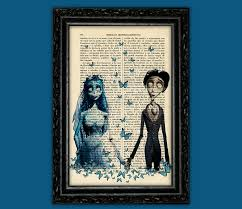 corpse bride and victor print tim burton movie art poster