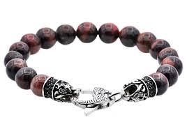 red bead bracelet images Mens genuine red tiger eye stainless steel beaded bracelet with jpg