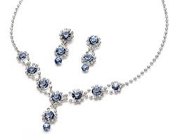 prom jewelry usabride sparkling blue with rhinestones