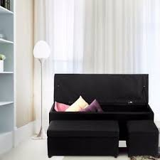 storage ottoman faux leather sofa bench foot rest stool seat chest