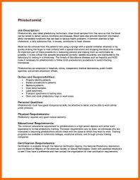 Phlebotomist Job Description Resume by Phlebotomy Certification Resume Virtren Com