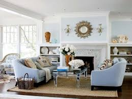 coastal living room with white beadboard celing cottage living