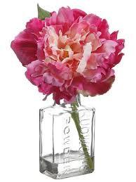 Peony Arrangement Fuchsia Pink Peony In Glass Vase Silk Arrangements Afloral Com