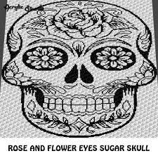 flower sugar skull alpha c2c crochet graphgan blanket