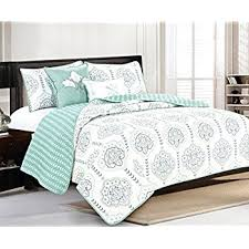 Quilted Coverlets And Shams Amazon Com 5 Piece Quilt Set With Shams And Decorative Pillows