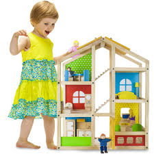 amazon com wooden wonders tall townhome dollhouse with 16 pieces