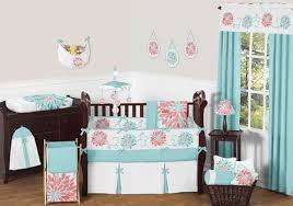 Jojo Crib Bedding Turquoise And Coral Baby Bedding 9pc Crib Set By Sweet Jojo