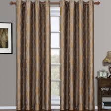 Brown Gold Curtains Savanna Jacquard Grommet Window Curtain Panels Set Of 2 Gold