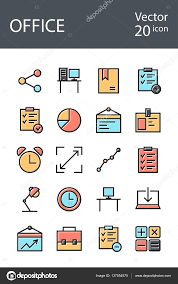 office icons set in retro style with mixed color the trend in