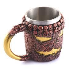 halloween coffee mug stainless steel liner 3d skull coffee beer milk mug cup tankard