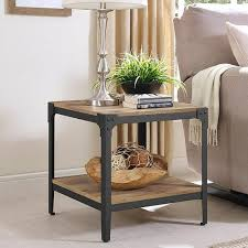 end table set of 2 barnwood angle iron rustic wood end table set of 2 pier 1 imports
