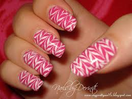 my pretty nailz zig zag nail art konad nail art pink and white