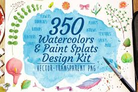 350 watercolors and paint splats design kit only 12 mightydeals