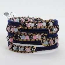 natural stone beaded bracelet images Natural stone bead beaded leather wrap bracelets wholesale jpg
