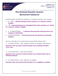 Rational Or Irrational Numbers Worksheet The Rational Number System Worksheet Solutions