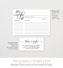 recipe card set printable recipe card sign and instruction card