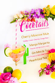 diy drinks cocktail menu on glass with vinyl welcome tropical