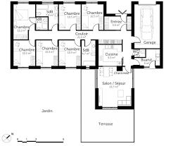plan maison plain pied 5 chambres maison en u 6 chambres