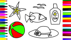 how to draw and coloring fish ball hat summer stuff drawing