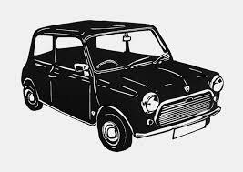 retro mini car linocut print car lover gift classic car