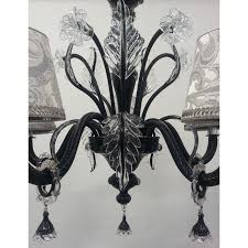 Murano Blown Glass Chandelier Authentic Italian Murano Black And Crystal Hand Blown Glass