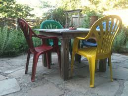 Plastic Wood Patio Furniture by Patio Plastic Patio Table And Chairs Yellow Square Rustic Wooden